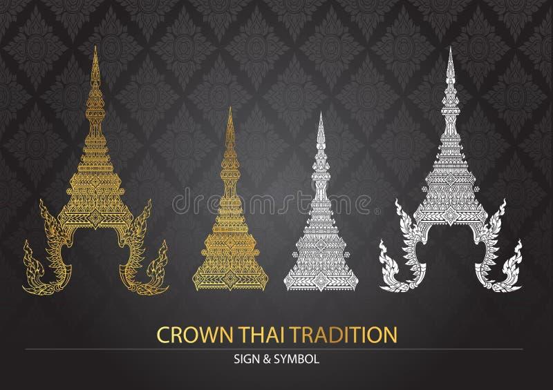 Ícone tailandês da tradição da coroa ilustração stock