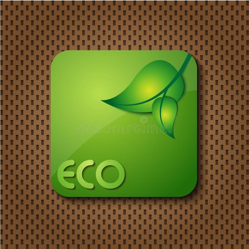 Ícone/tecla verdes do logotipo de Eco ilustração royalty free
