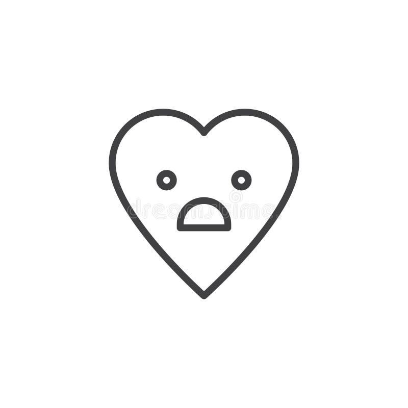 Ícone temível do esboço do emoticon da cara ilustração do vetor