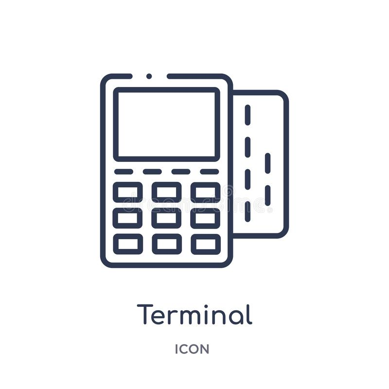 Ícone terminal linear da coleção do esboço do negócio e da analítica Linha fina vetor terminal isolado no fundo branco ilustração do vetor
