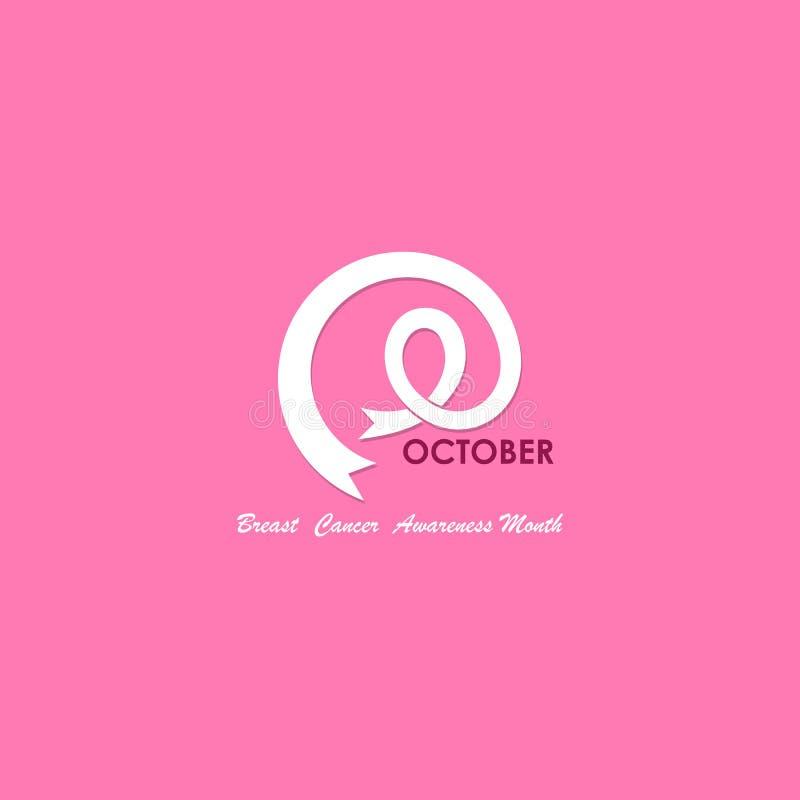 Ícone tipográfico & cor-de-rosa de outubro da fita Câncer da mama outubro A ilustração do vetor