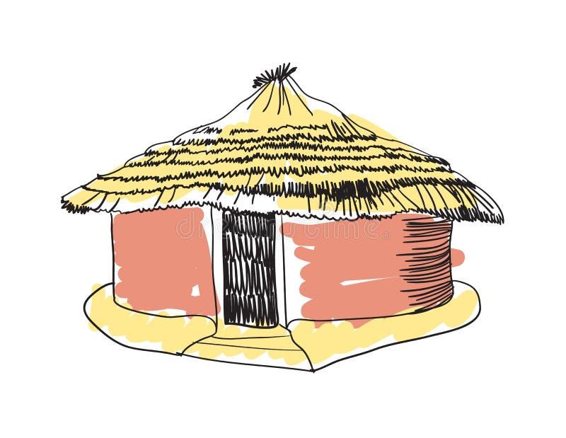 Ícone tirado da cabana mão tribal africana ilustração royalty free