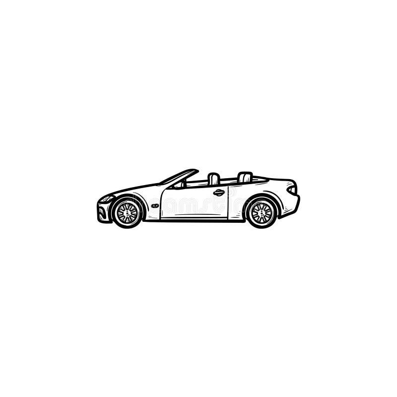 Ícone tirado da garatuja do esboço do carro mão convertível ilustração stock