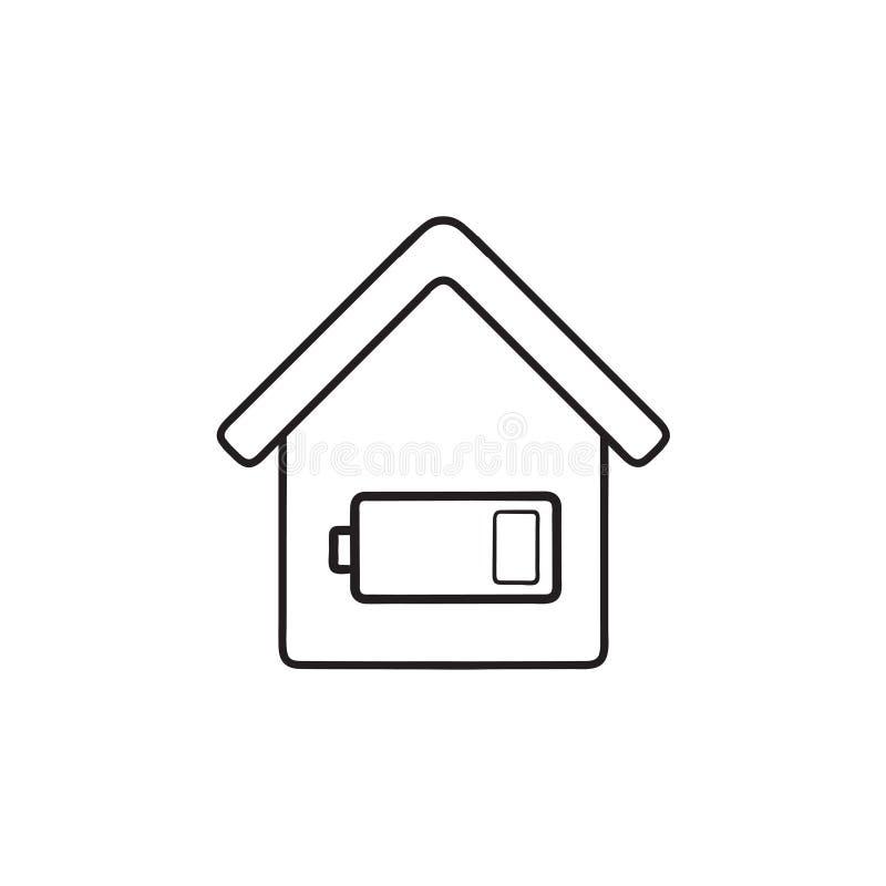 Ícone tirado da garatuja do esboço do consumo de energia da casa mão esperta ilustração do vetor