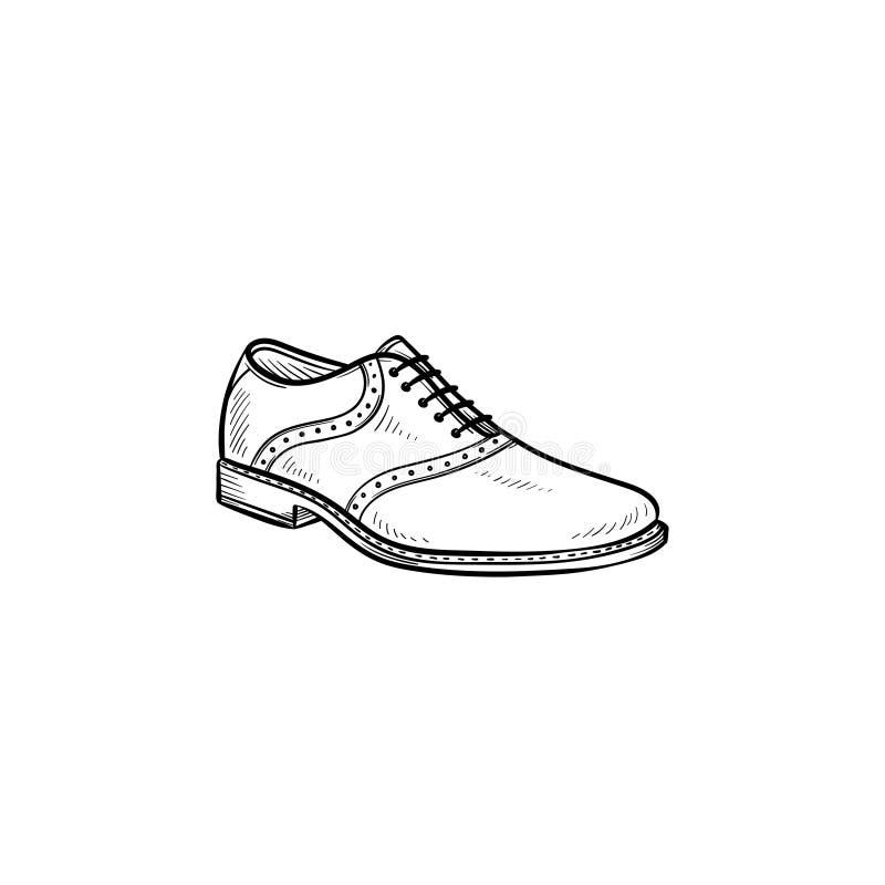 Ícone tirado da garatuja do esboço da sapata mão masculina ilustração royalty free