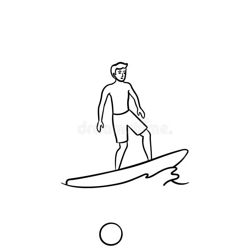 Ícone tirado da garatuja do esboço do surfista mão masculina ilustração royalty free