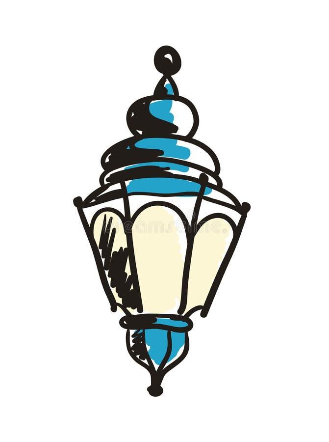 Ícone tirado da lanterna mão antiga ilustração do vetor