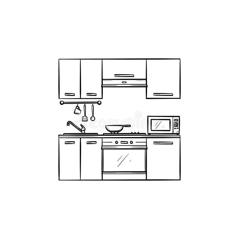 Ícone tirado do esboço da cozinha mão interior ilustração stock