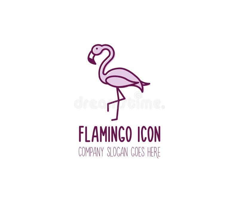 Ícone tirado do flamingo mão cor-de-rosa Ilustração animal do logotipo da garatuja do pássaro do vetor ilustração royalty free