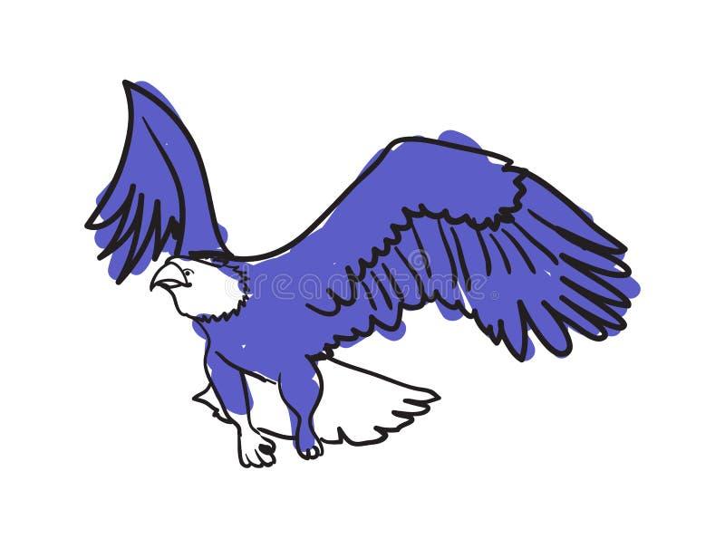 Ícone tirado mão da águia americana ilustração royalty free