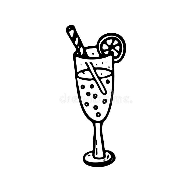 Ícone tirado mão da garatuja do cocktail Esboço preto tirado mão Sinal S ilustração stock