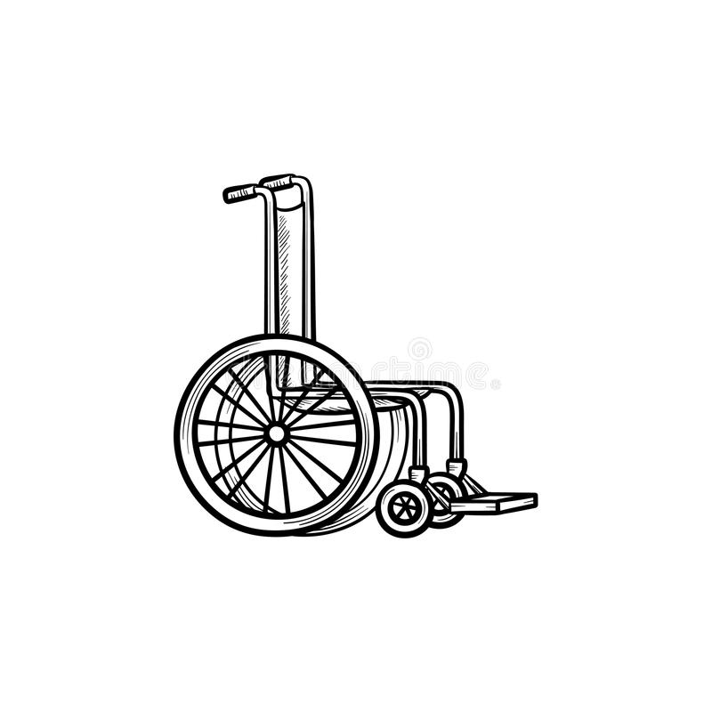 Ícone tirado mão da garatuja do esboço da cadeira de rodas ilustração royalty free