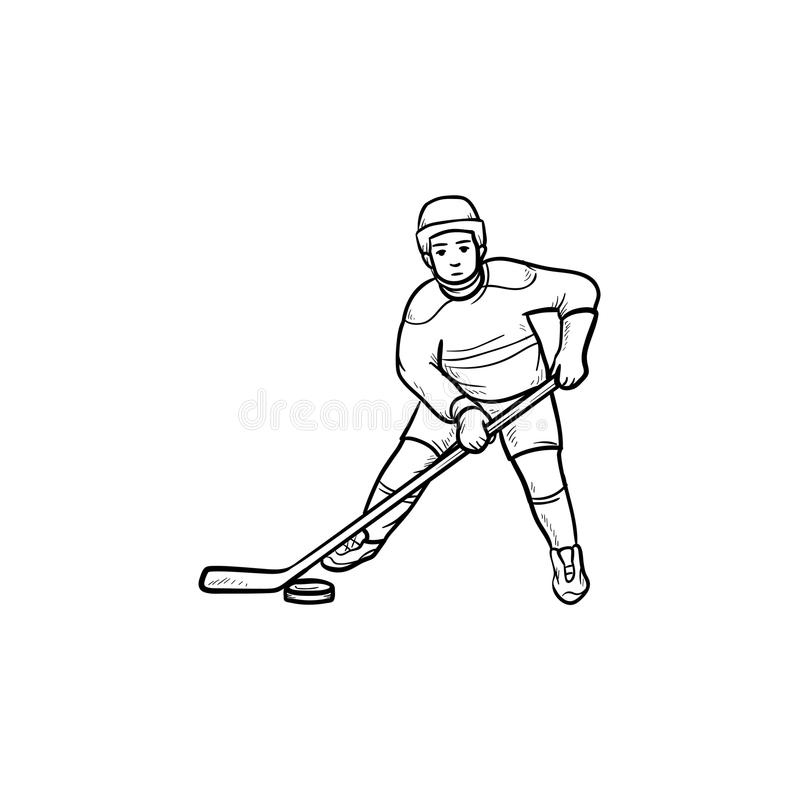 Ícone tirado mão da garatuja do esboço do jogador de hóquei ilustração royalty free