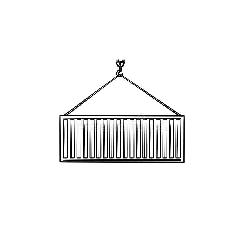 Ícone tirado mão da garatuja do esboço do recipiente de carga ilustração royalty free