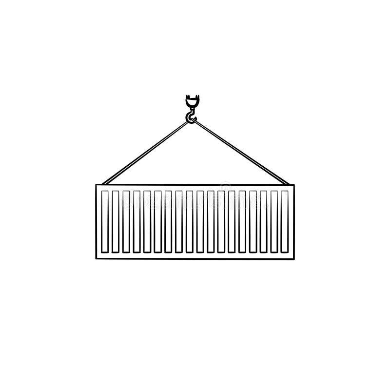 Ícone tirado mão da garatuja do esboço do recipiente de carga ilustração do vetor