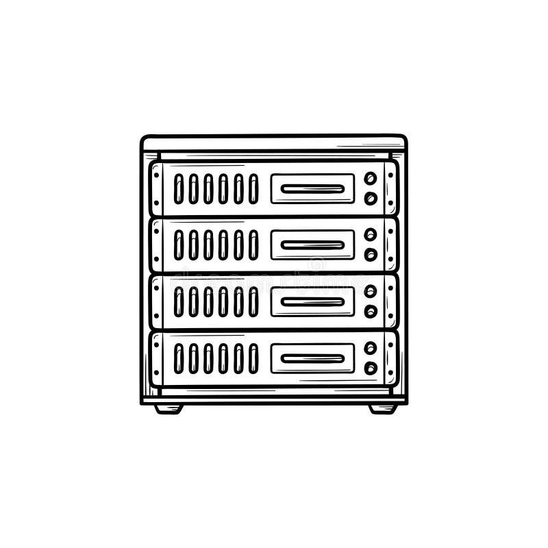 Ícone tirado mão da garatuja do esboço do servidor de computador ilustração royalty free