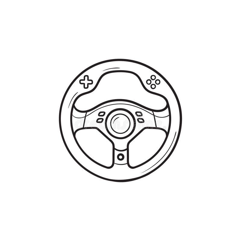 Ícone tirado mão da garatuja do esboço do volante do jogo ilustração stock