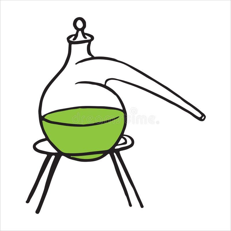 Ícone tirado mão da garatuja da reação química da retorta ilustração royalty free