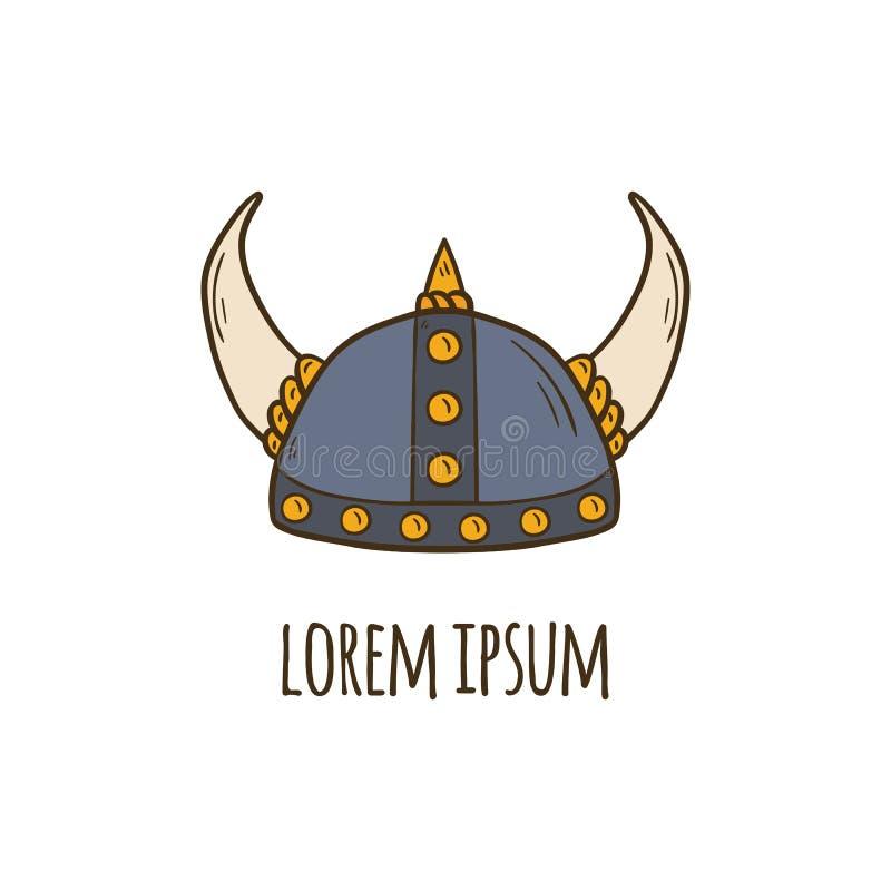Ícone tirado mão do capacete de viquingue dos desenhos animados do vetor ilustração royalty free