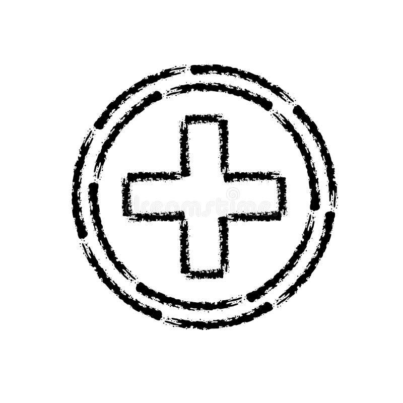 Ícone tirado mão do curso da escova da cruz médica ilustração royalty free