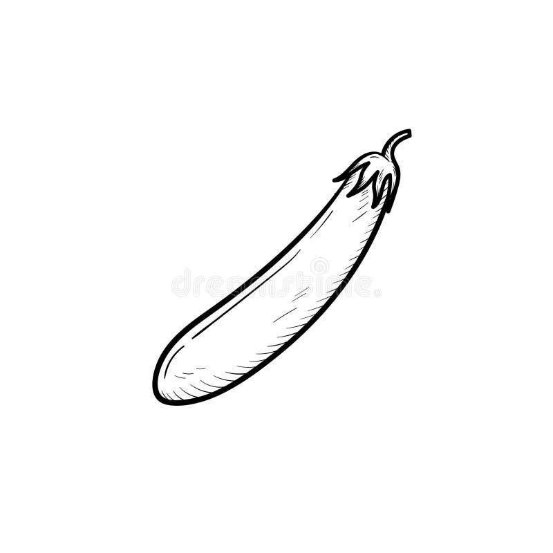 Ícone tirado mão do esboço da beringela ilustração stock