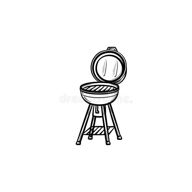 Ícone tirado mão do esboço da grade do BBQ ilustração royalty free
