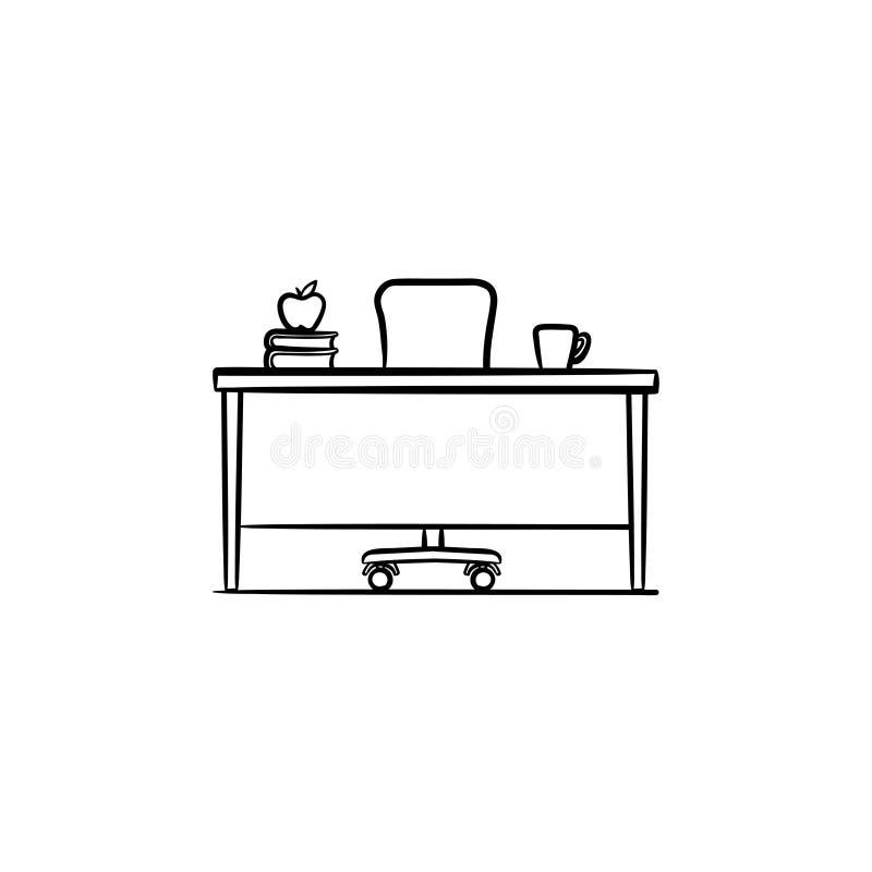 Ícone tirado mão do esboço da mesa do trabalho ilustração do vetor