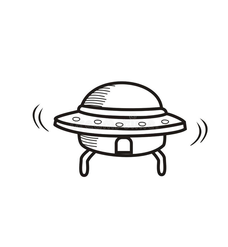 Ícone tirado mão do esboço do UFO ilustração royalty free