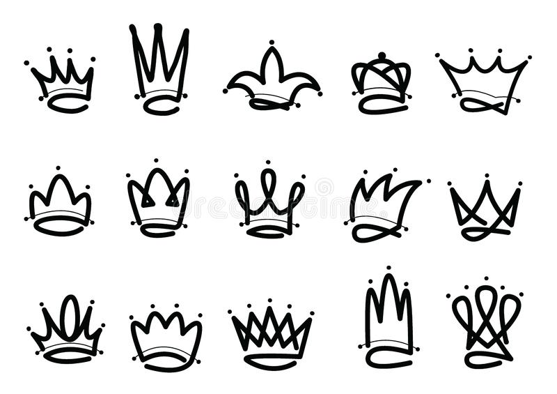 Ícone tirado mão do logotipo da coroa Ilustração do vetor ilustração do vetor