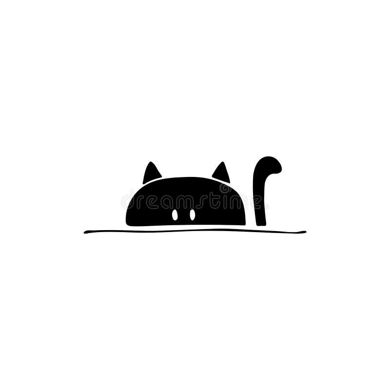 Ícone tirado mão do vetor, cabeça de um gato Elemento do logotipo para negócio relacionado dos animais de estimação ilustração royalty free