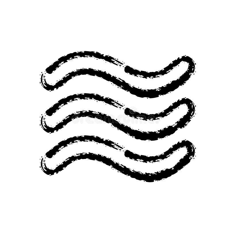 Ícone tirado mão do vetor do curso da escova de ondas do mar ilustração royalty free