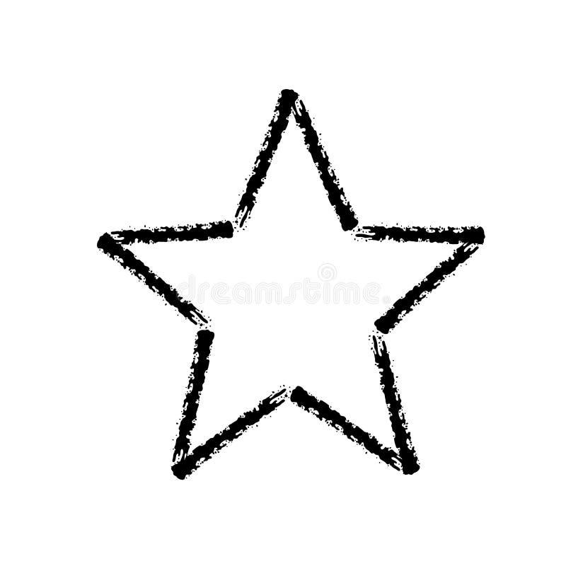 Ícone tirado mão do vetor do curso da escova da estrela ilustração stock