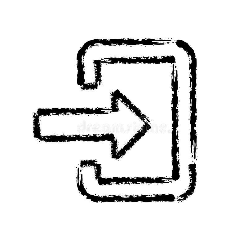Ícone tirado mão do vetor do curso da escova da porta de entrada ilustração royalty free
