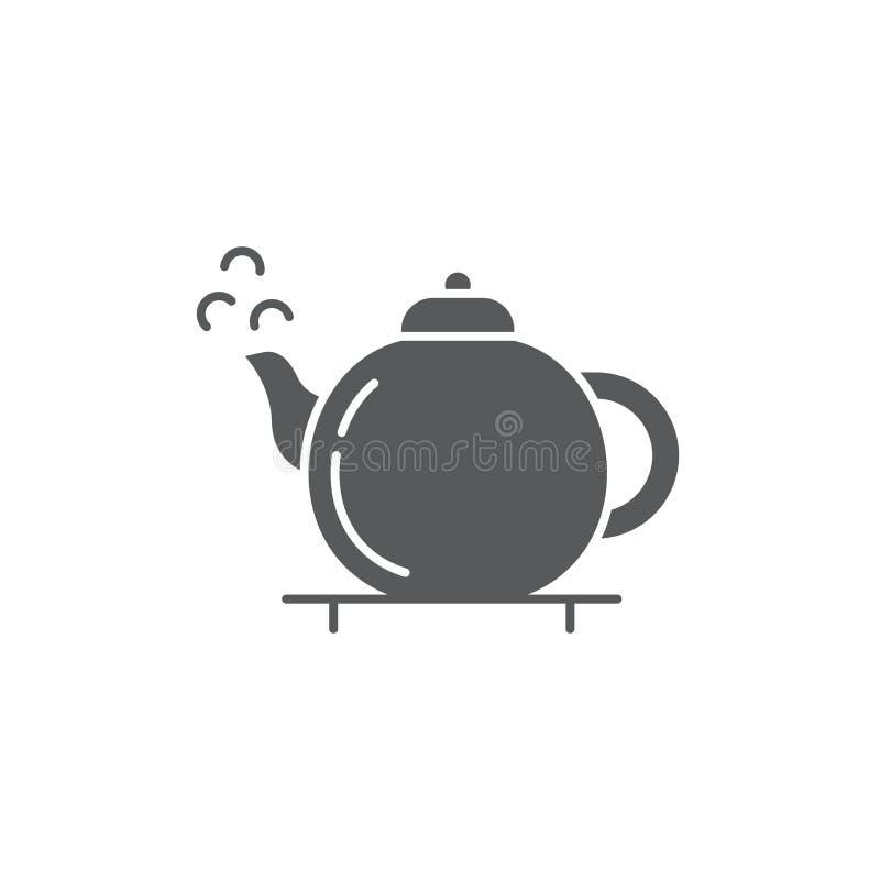 Ícone tradicional do vetor do bule de chá chinês símbolo de bebida isolado em fundo branco ilustração stock