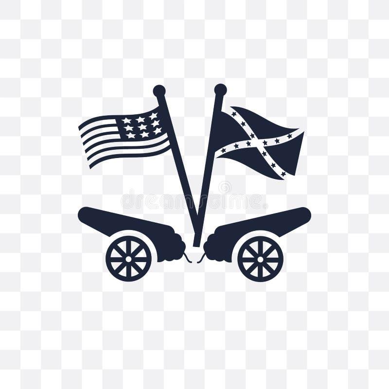 ícone transparente americano da guerra civil símbolo americano d da guerra civil ilustração do vetor
