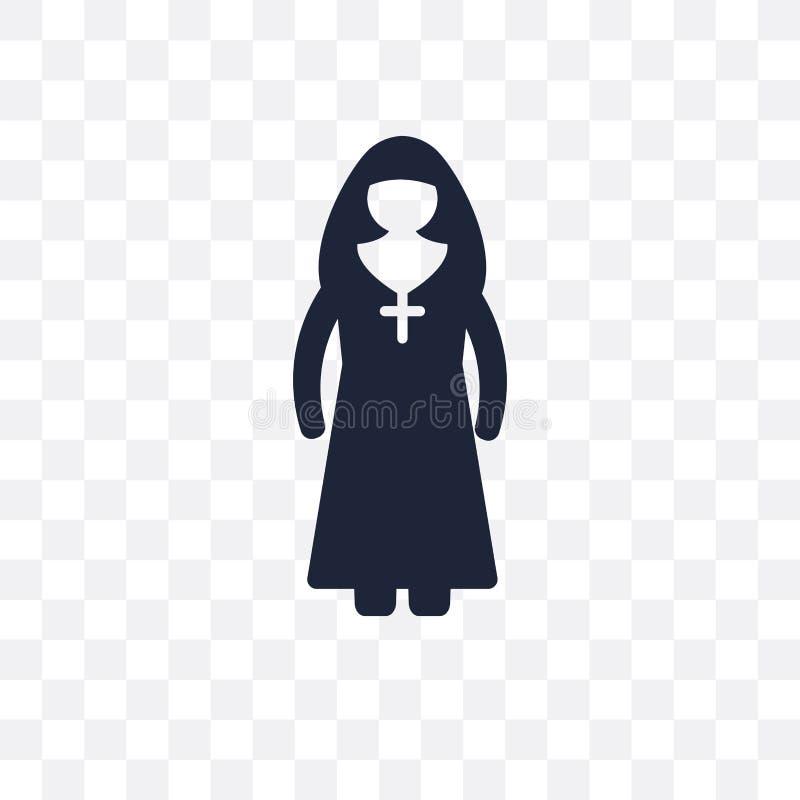 Ícone transparente da freira O projeto do símbolo da freira das profissões recolhe ilustração do vetor