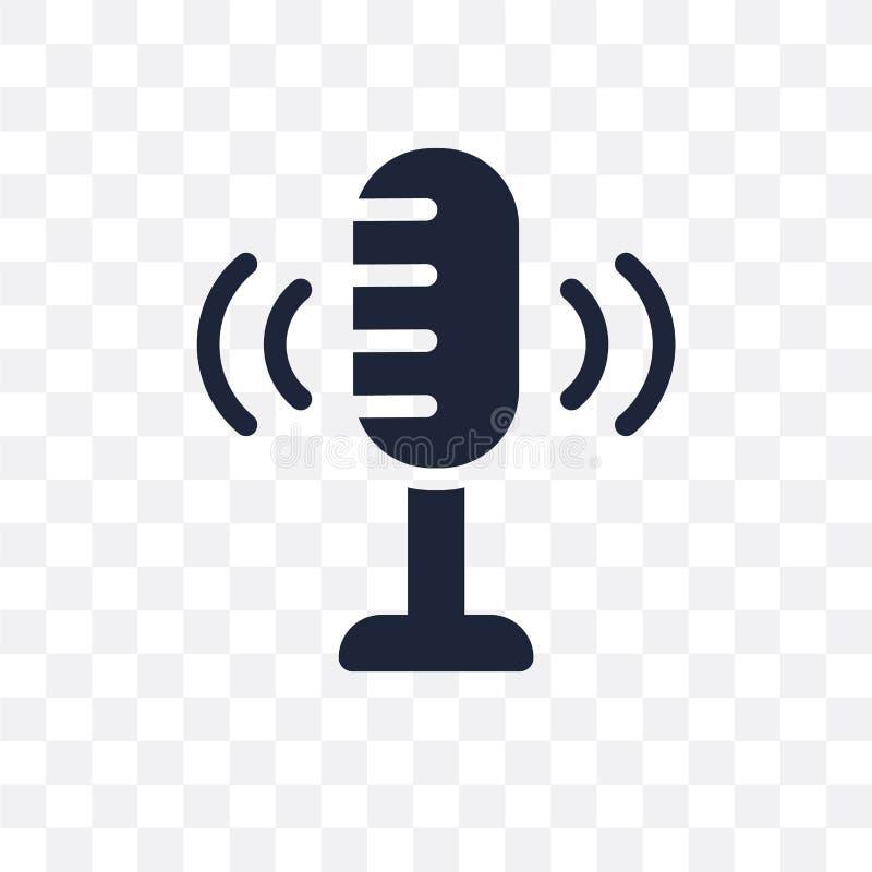 Ícone transparente da gravação da voz Projeto do símbolo da gravação da voz ilustração royalty free