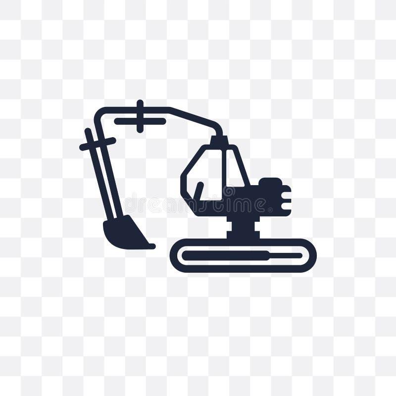 Ícone transparente das máquinas escavadoras Projeto do símbolo das máquinas escavadoras do transporte ilustração royalty free
