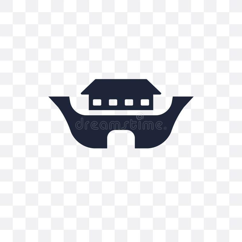 Ícone transparente de Noah Ark Projeto do símbolo de Noah Ark da religião ilustração royalty free
