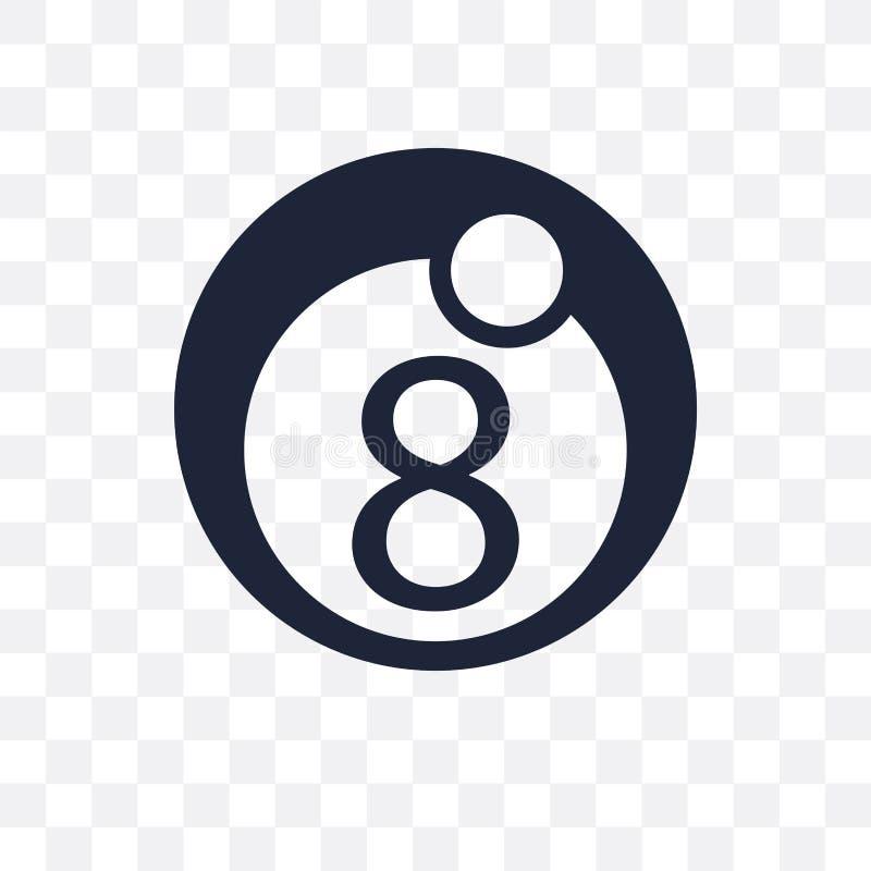 Ícone transparente de oito bolas Projeto do símbolo de oito bolas de Arcad ilustração stock