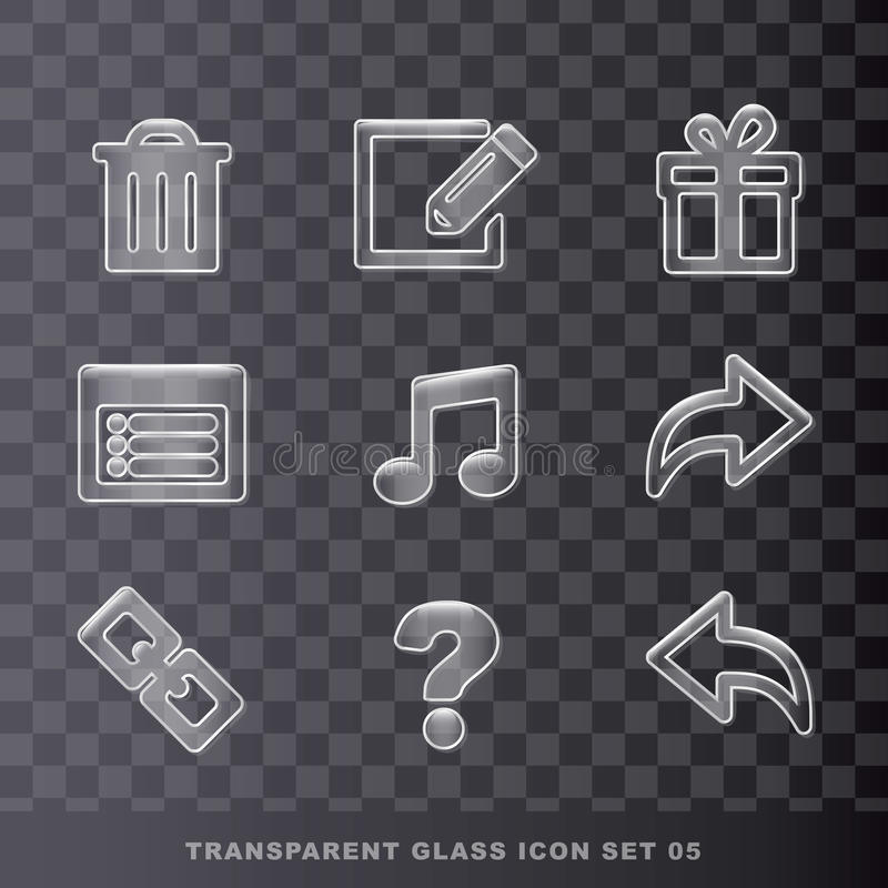 Ícone transparente de vidro set-05 ilustração stock