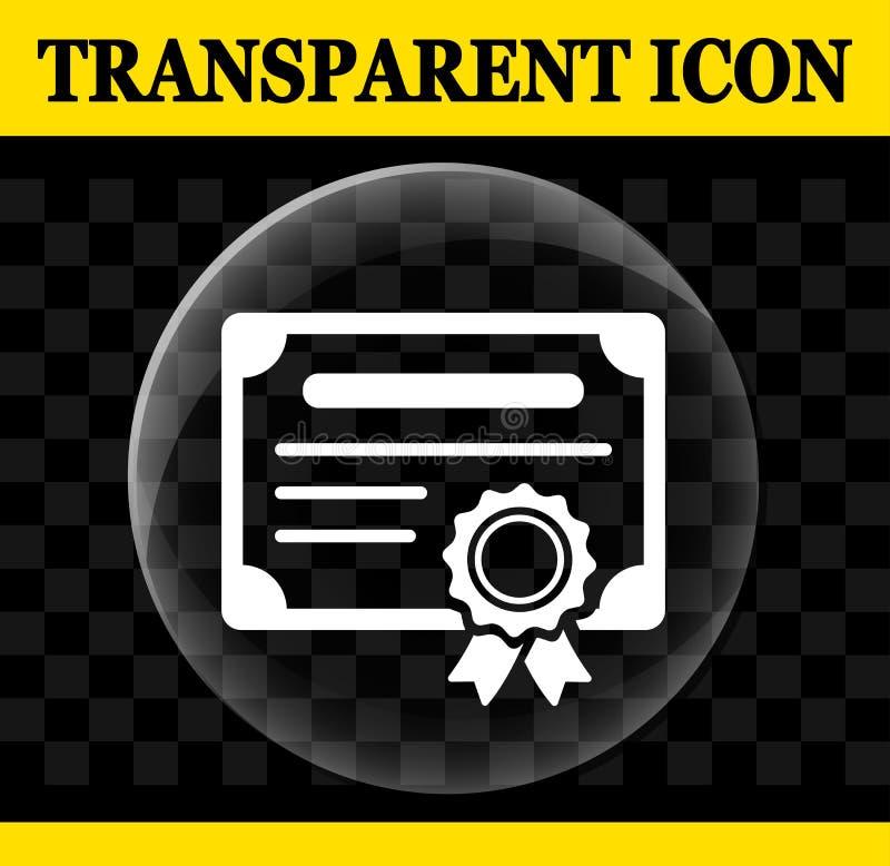 Ícone transparente do círculo do vetor do certificado ilustração stock