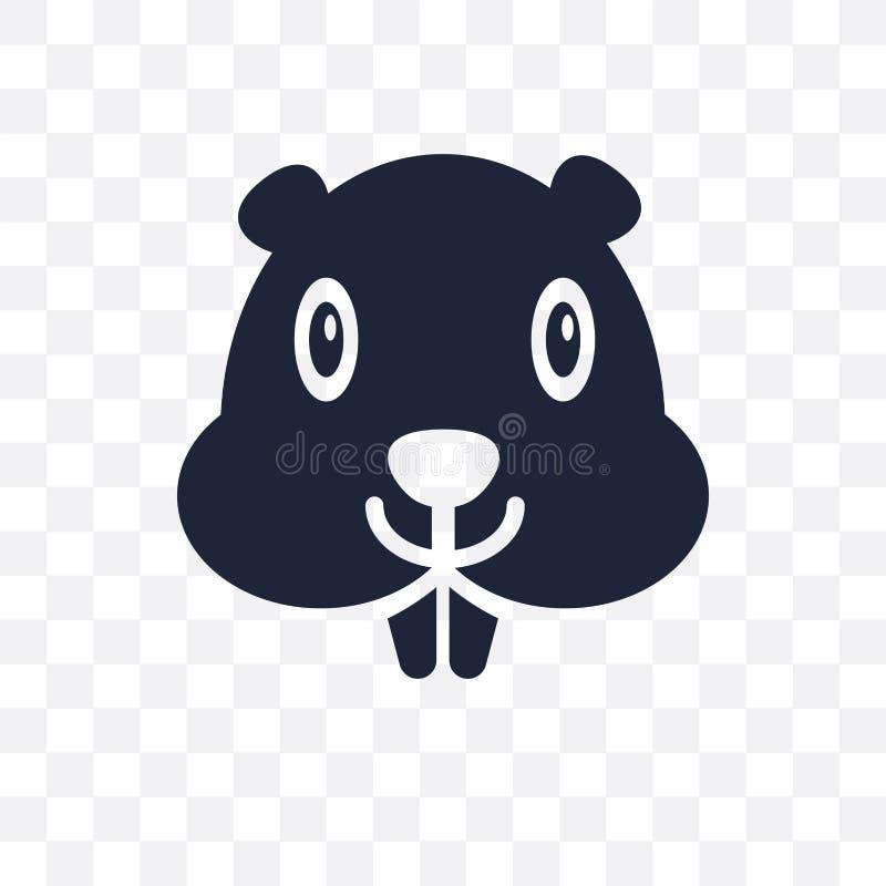 Ícone transparente do castor Projeto do símbolo do castor do colle dos animais ilustração royalty free