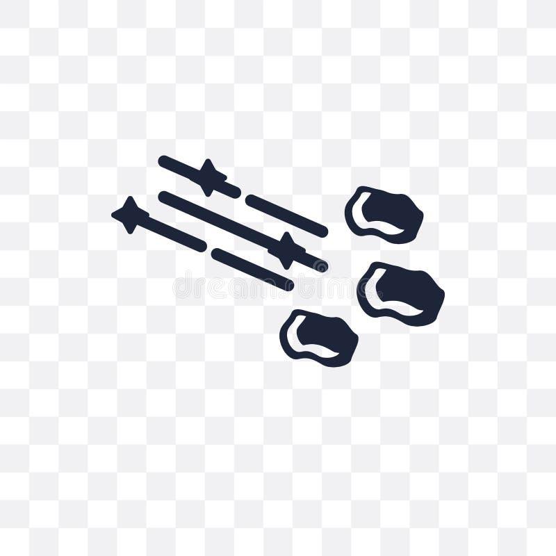 Ícone transparente do chuveiro de meteoro Projeto do símbolo do chuveiro de meteoro de ilustração stock