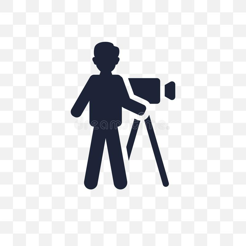 ícone transparente do operador cinematográfico projeto do símbolo do operador cinematográfico do cinema ilustração do vetor
