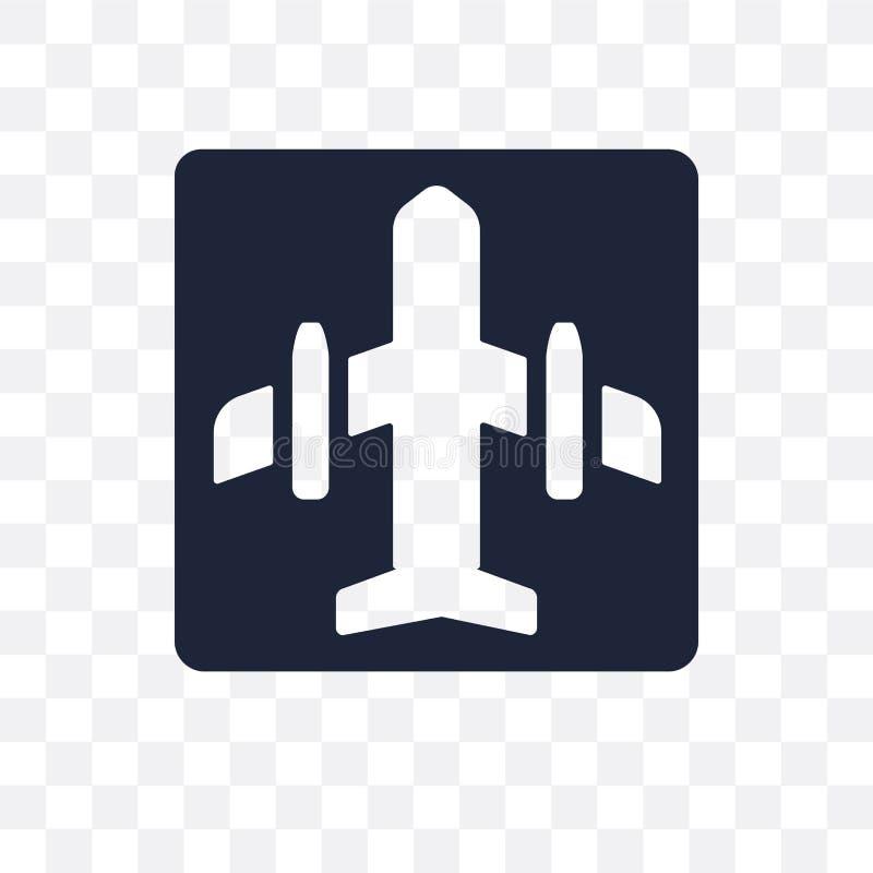 Ícone transparente do sinal do aeroporto Projeto do símbolo do sinal do aeroporto de T ilustração do vetor