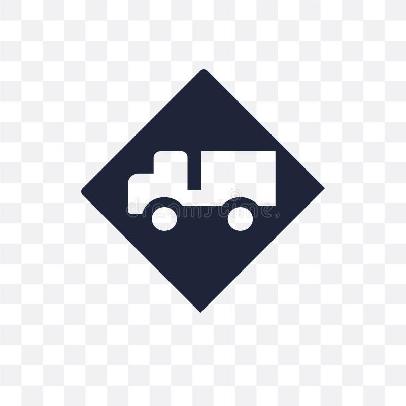 Ícone transparente do sinal do caminhão Projeto do símbolo do sinal do caminhão de Traff ilustração stock