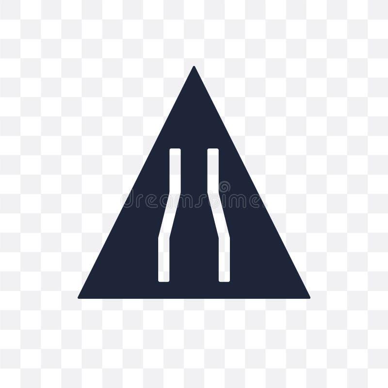 Ícone transparente do sinal de estrada estreita Desig do símbolo do sinal de estrada estreita ilustração royalty free