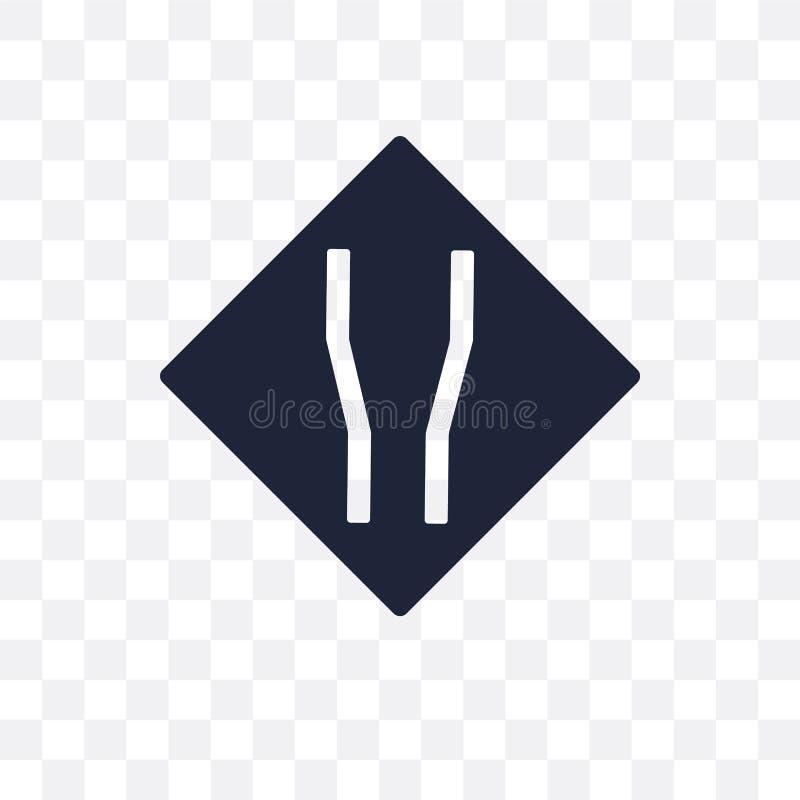 Ícone transparente largo do sinal de estrada Projeto largo franco do símbolo do sinal de estrada ilustração stock