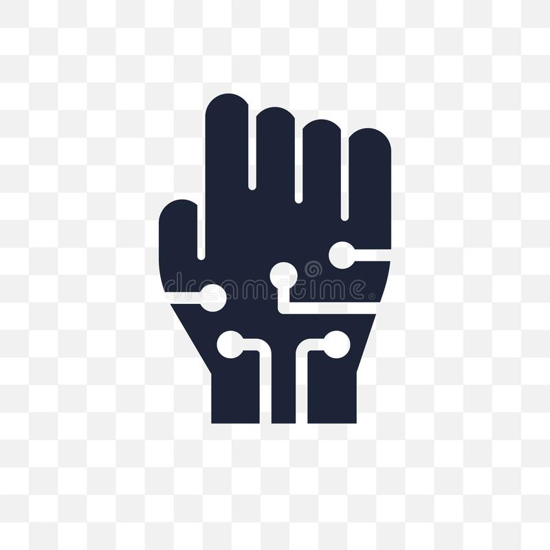 Ícone transparente prendido das luvas Projeto prendido do símbolo das luvas de F ilustração stock